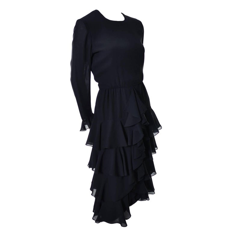 Bill Blass 1980s Vintage Cocktail Black Silk Dress With Ruffles & Layers Sz 6/8 For Sale