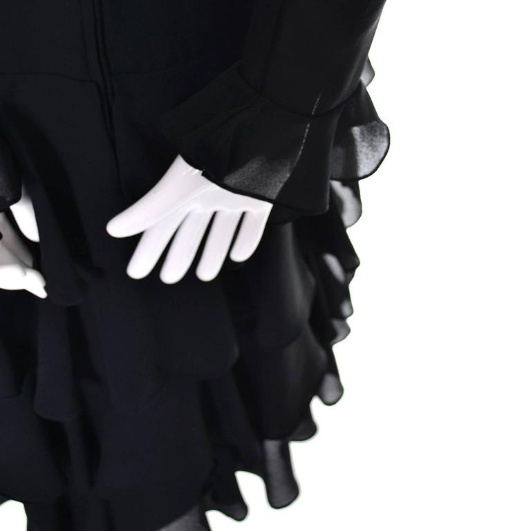 Bill Blass 1980s Vintage Cocktail Black Silk Dress With Ruffles & Layers Sz 6/8 For Sale 1