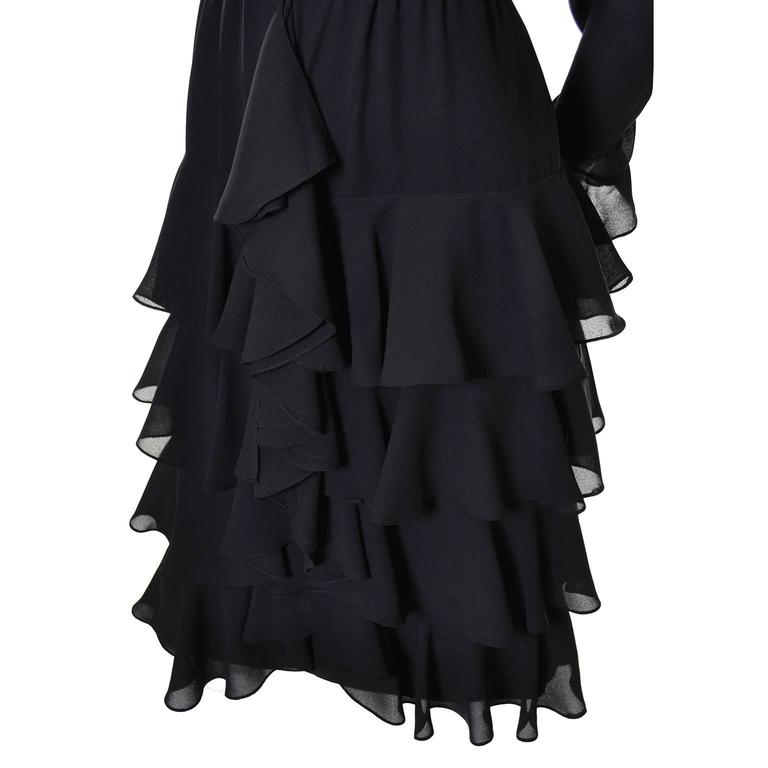 Bill Blass 1980s Vintage Cocktail Black Silk Dress With Ruffles & Layers Sz 6/8 For Sale 3