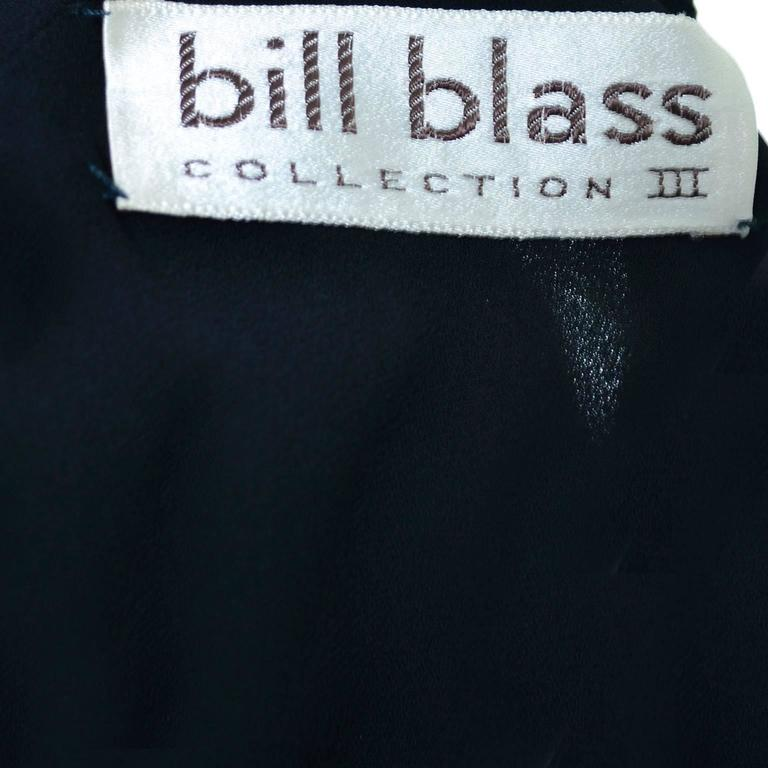 Bill Blass 1980s Vintage Cocktail Black Silk Dress With Ruffles & Layers Sz 6/8 For Sale 4