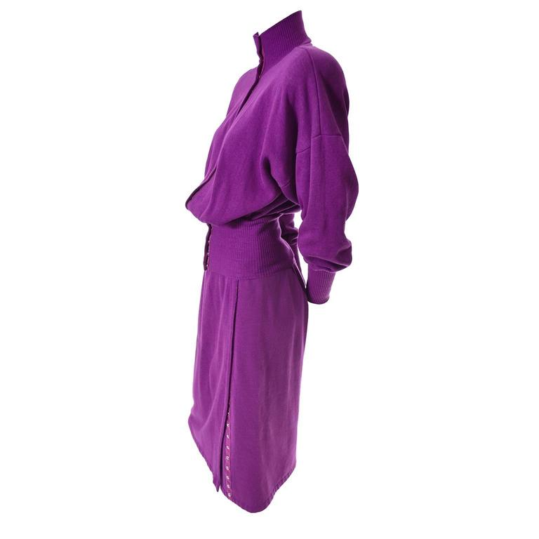 1980s Vintage Norma Kamali 2pc Dress Sweatshirt Top Skirt Purple Fleece S/M For Sale 1