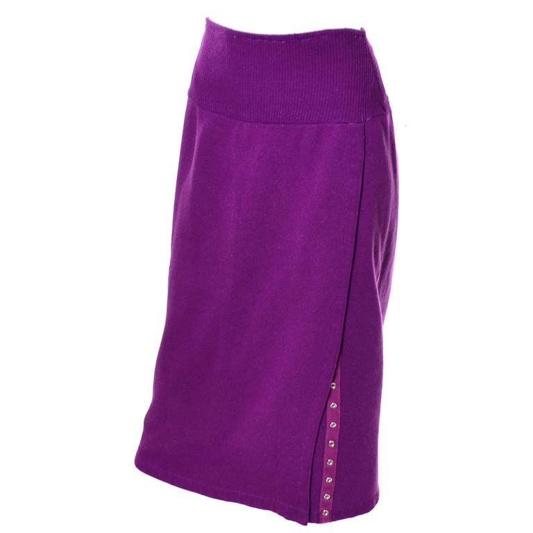Women's 1980s Vintage Norma Kamali 2pc Dress Sweatshirt Top Skirt Purple Fleece S/M For Sale