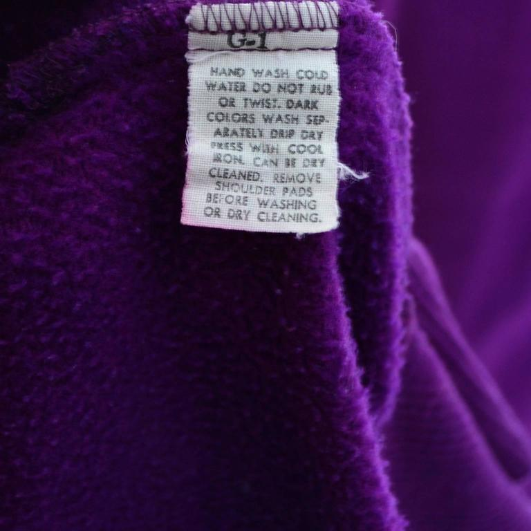 1980s Vintage Norma Kamali 2pc Dress Sweatshirt Top Skirt Purple Fleece S/M For Sale 5
