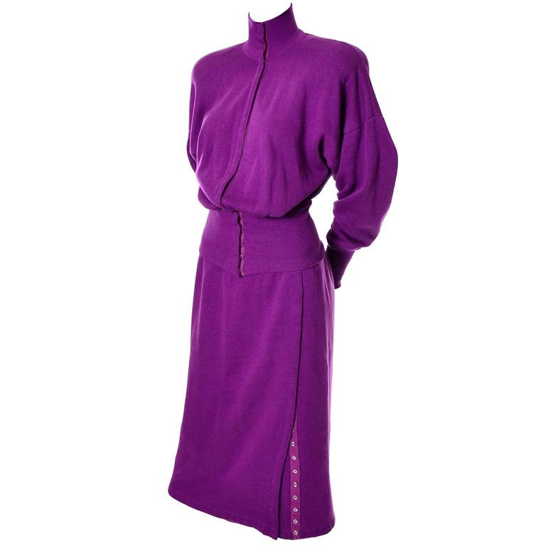1980s Vintage Norma Kamali 2pc Dress Sweatshirt Top Skirt Purple Fleece S/M For Sale 2