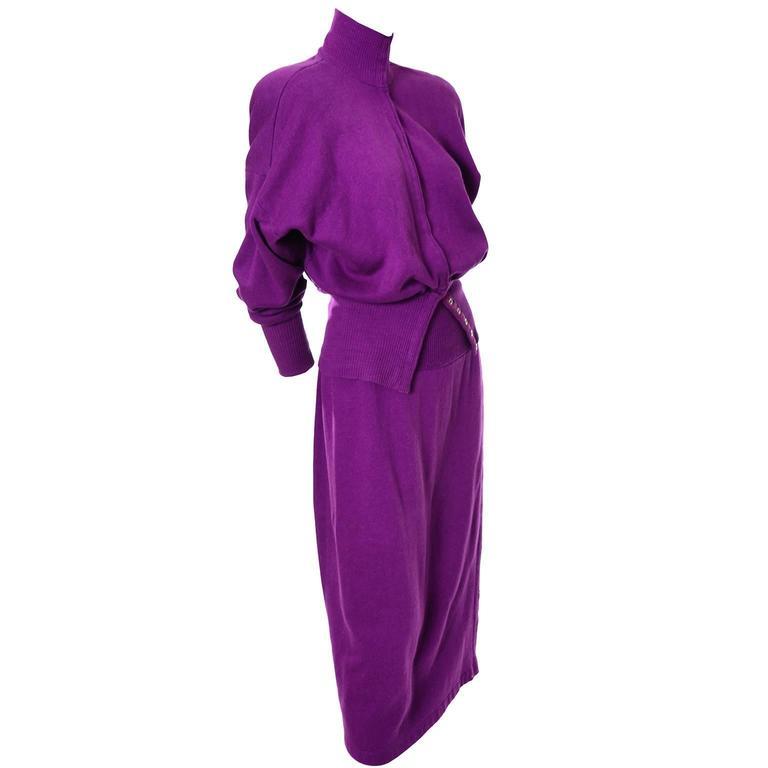 1980s Vintage Norma Kamali 2pc Dress Sweatshirt Top Skirt Purple Fleece S/M For Sale
