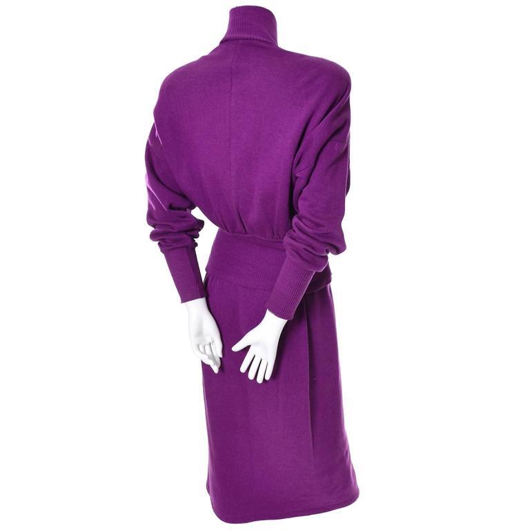 1980s Vintage Norma Kamali 2pc Dress Sweatshirt Top Skirt Purple Fleece S/M For Sale 3