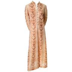 1970s B Cohen I Magnin Vintage Dress Caftan Metallic Python Snakeskin Print