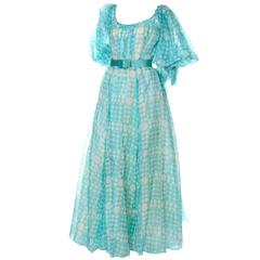 1970s Bob Mackie Ray Aghaya Vintage Dress in Aqua Blue Dot Organza Size 4/6