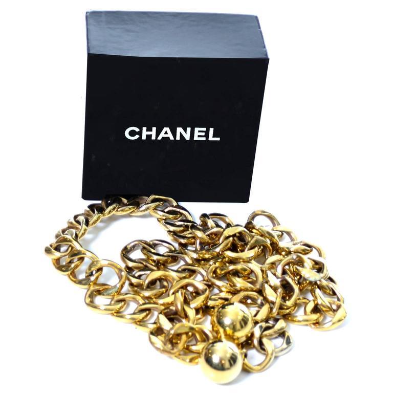 Brown Chanel Rare Vintage Belt Gold Balls Original Box Made in France Adjustable Fit For Sale
