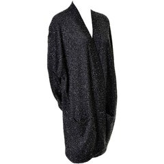 Donna Karan Black Label Metallic Beaded Cardigan Vintage Evening Jacket Large