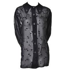Giorgio Armani 1980s Vintage Black Sheer Flocked Velvet Stars Blouse 8