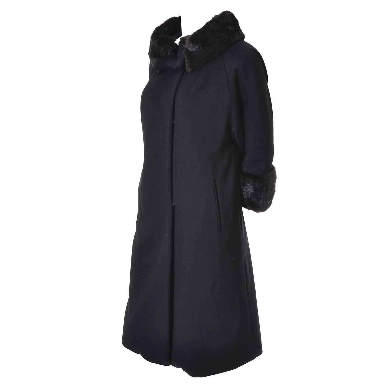 fc135449e29bf0 1960s Lilli Ann Vintage Coat Fur Cuffs Collar Black Wool Bow