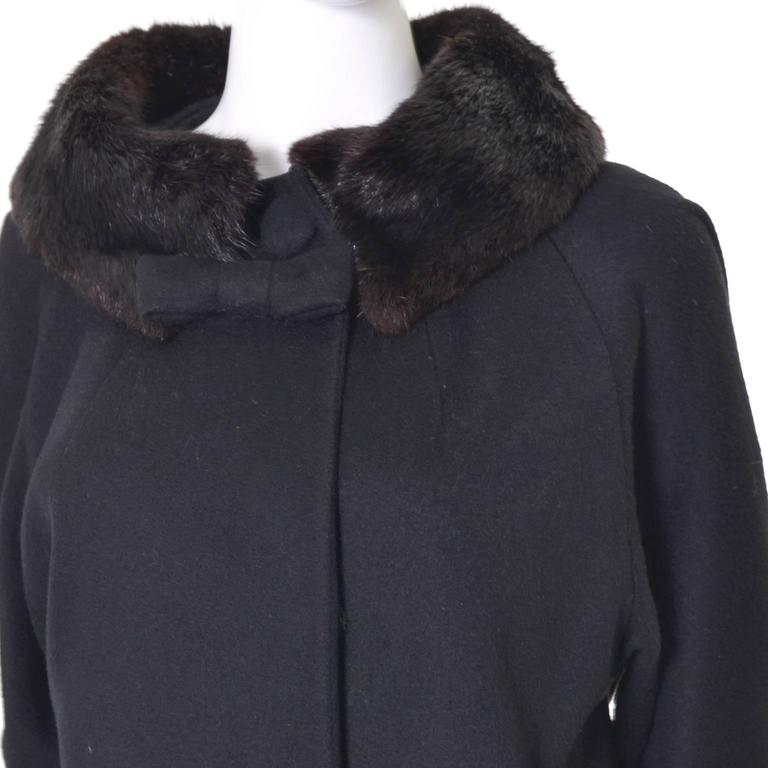 1960s Lilli Ann Vintage Coat Fur Cuffs Collar Black Wool Bow 2