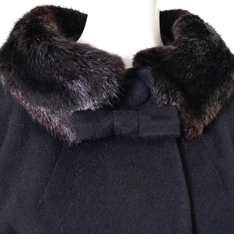 1960s Lilli Ann Vintage Coat Fur Cuffs Collar Black Wool Bow 6