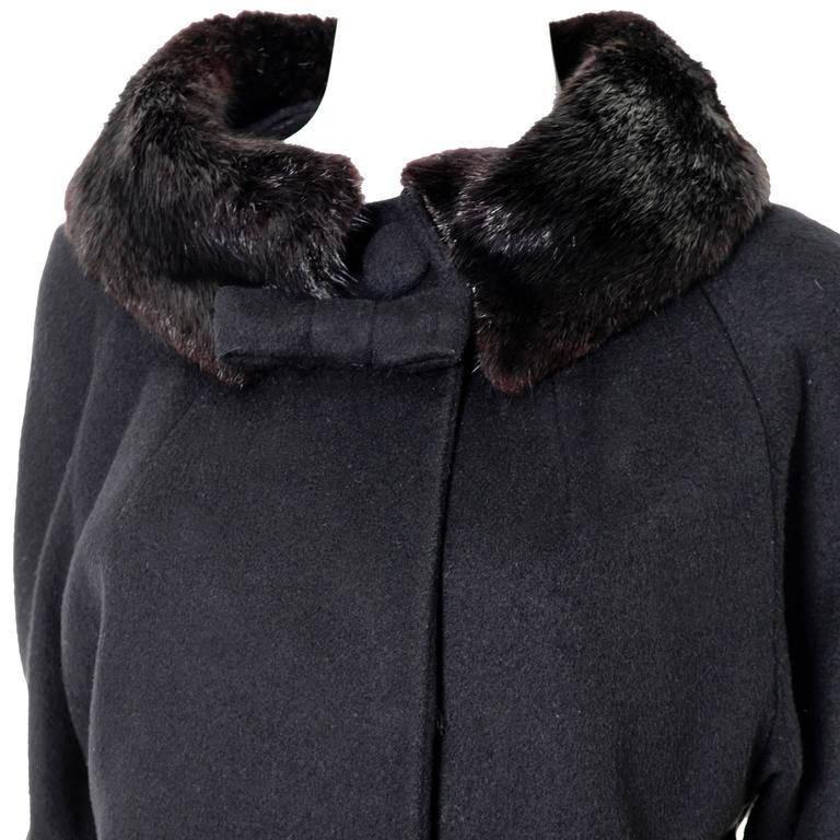 1960s Lilli Ann Vintage Coat Fur Cuffs Collar Black Wool Bow 4