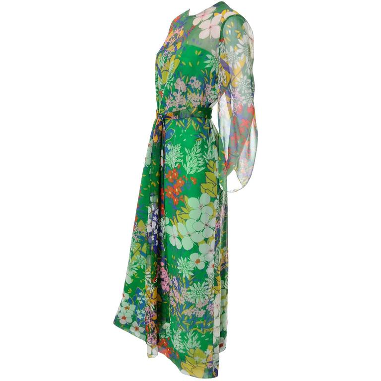 1960s Nat Kaplan Couture Vintage Dress I Magnin Green Floral Print Maxi Cruise