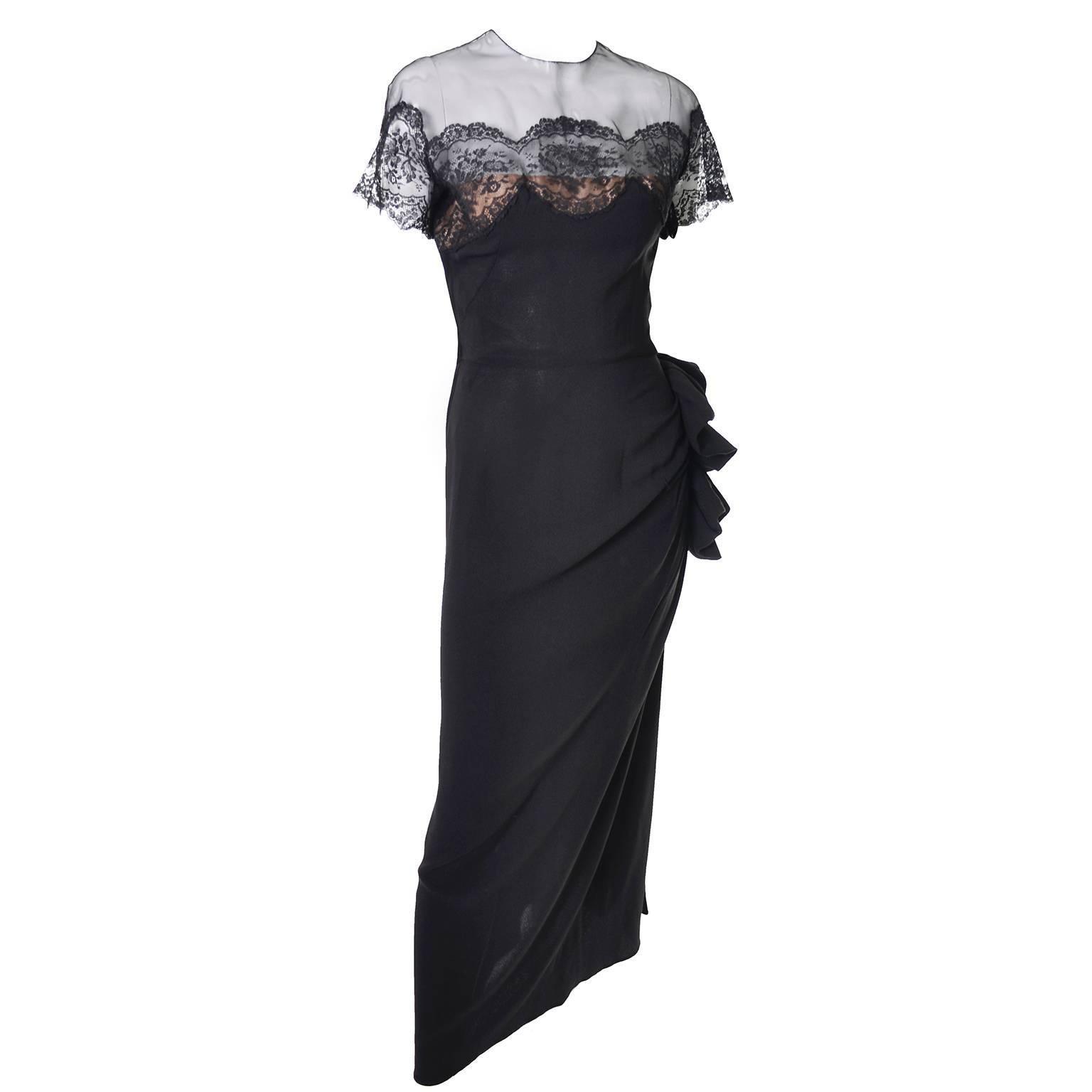 Peggy Hunt Vintage Dress Black Crepe Lace Evening Gown Illusion Bodice 1940s