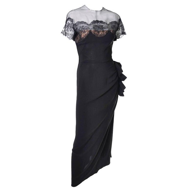 Peggy Hunt Vintage Dress Black Crepe Lace Evening Gown Illusion Bodice 1940s For Sale