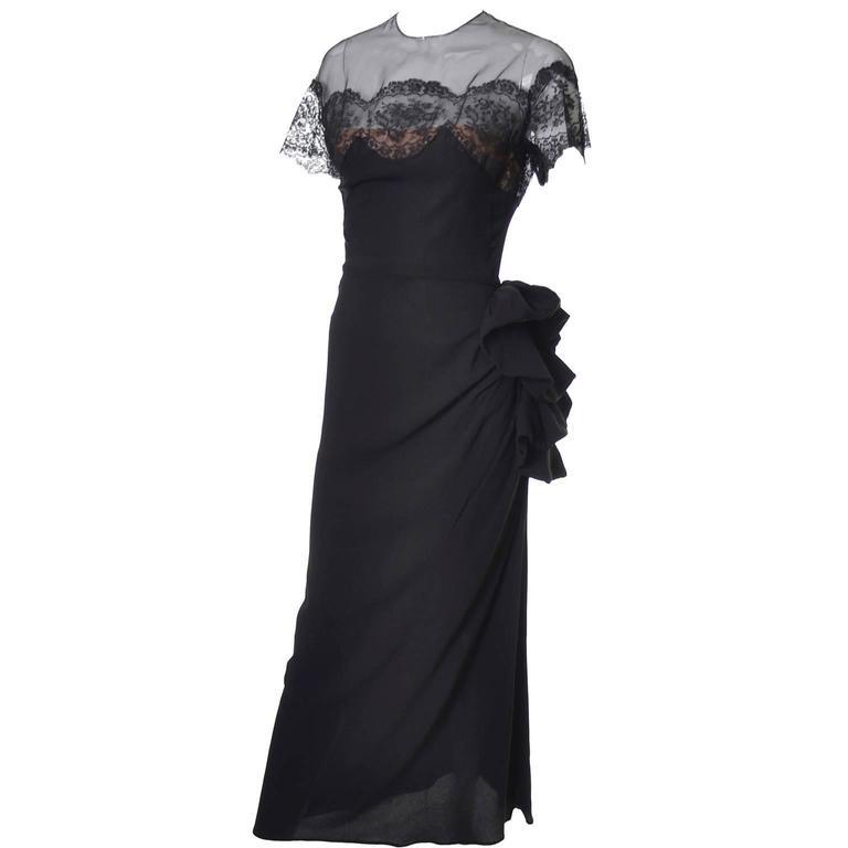 Women's Peggy Hunt Vintage Dress Black Crepe Lace Evening Gown Illusion Bodice 1940s For Sale