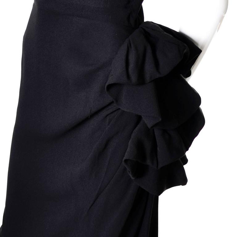 Peggy Hunt Vintage Dress Black Crepe Lace Evening Gown Illusion Bodice 1940s For Sale 1