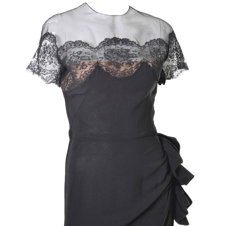 Peggy Hunt Vintage Dress Black Crepe Lace Evening Gown Illusion Bodice 1940s In Excellent Condition For Sale In Portland, OR