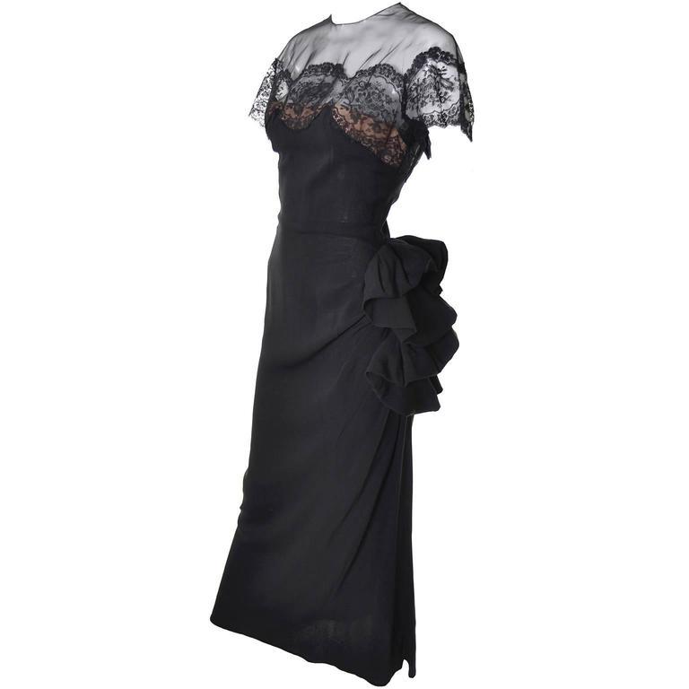 Peggy Hunt Vintage Dress Black Crepe Lace Evening Gown Illusion Bodice 1940s For Sale 2