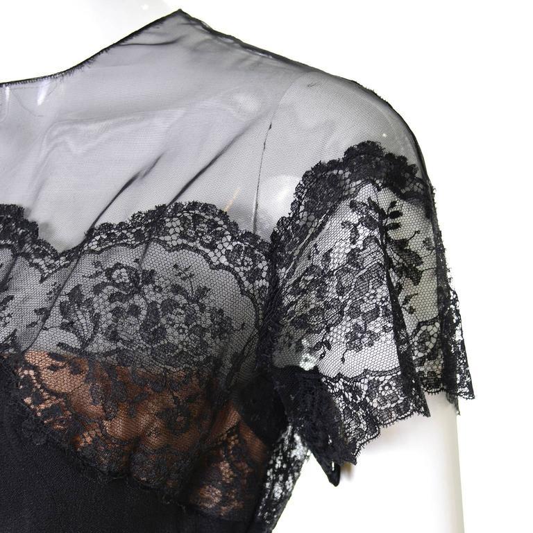Peggy Hunt Vintage Dress Black Crepe Lace Evening Gown Illusion Bodice 1940s For Sale 3