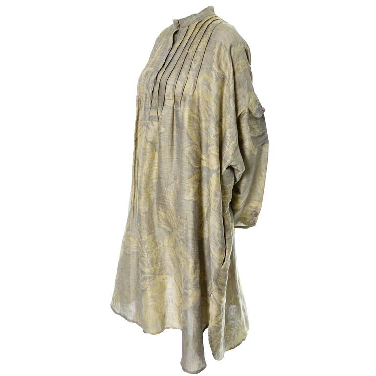 1980s Salvatore Ferragamo Vintage Linen Tunic Dress Statement Sleeves One Size 5