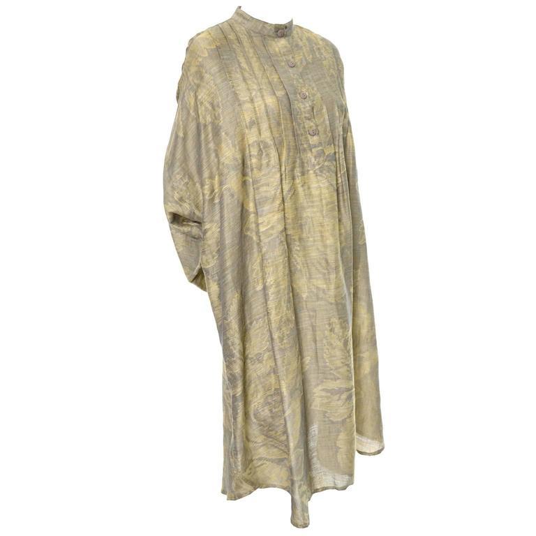 1980s Salvatore Ferragamo Vintage Linen Tunic Dress Statement Sleeves One Size 7