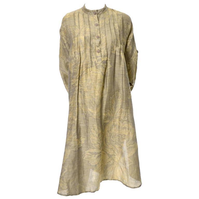1980s Salvatore Ferragamo Vintage Linen Tunic Dress Statement Sleeves One Size 6