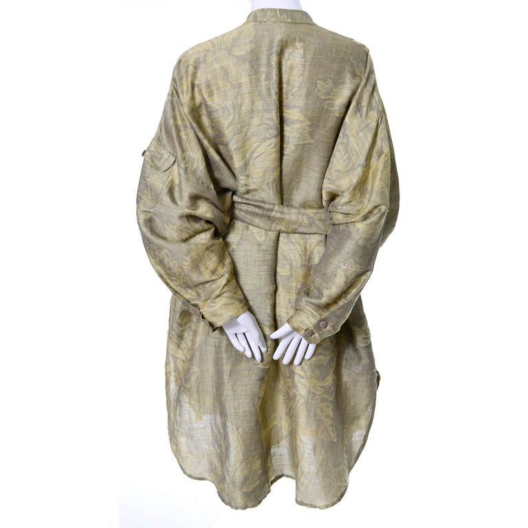 1980s Salvatore Ferragamo Vintage Linen Tunic Dress Statement Sleeves One Size 8