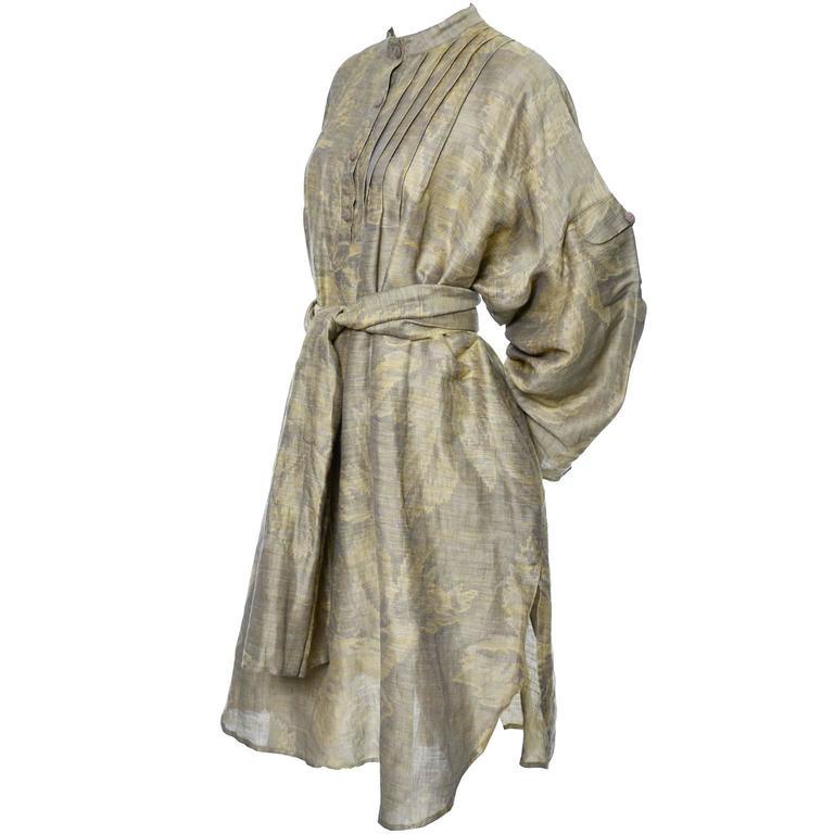 1980s Salvatore Ferragamo Vintage Linen Tunic Dress Statement Sleeves One Size 4