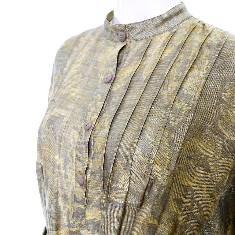 1980s Salvatore Ferragamo Vintage Linen Tunic Dress Statement Sleeves One Size 9