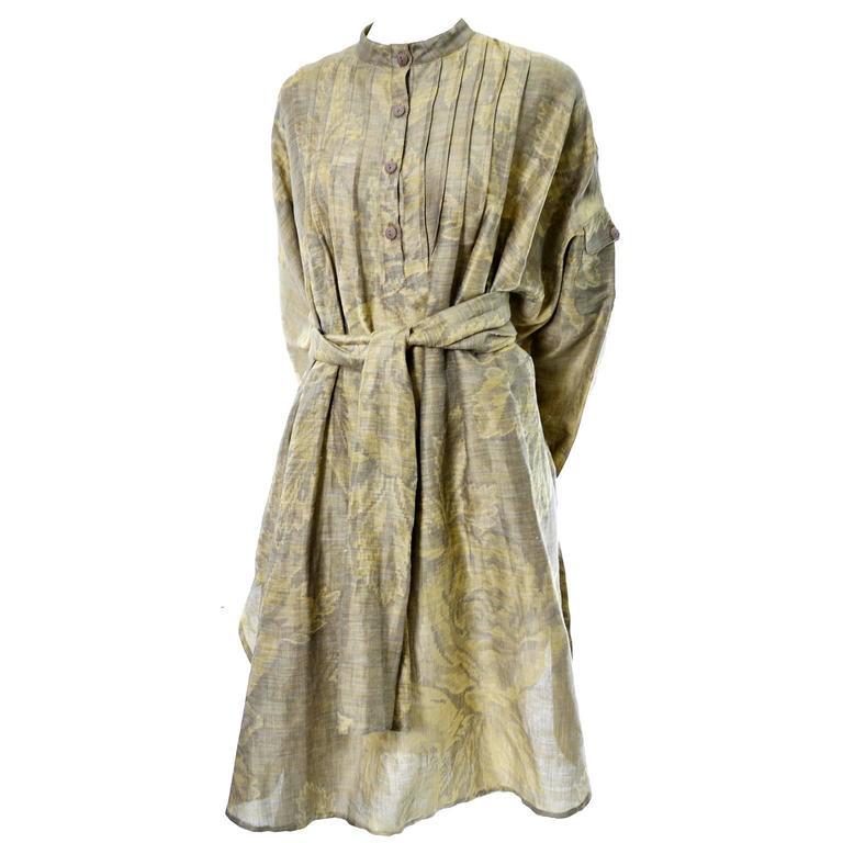 1980s Salvatore Ferragamo Vintage Linen Tunic Dress Statement Sleeves One Size 2