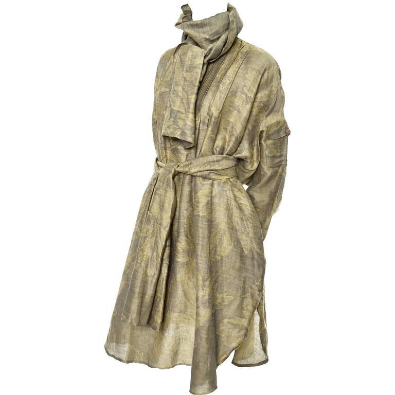 1980s Salvatore Ferragamo Vintage Linen Tunic Dress Statement Sleeves One Size 1