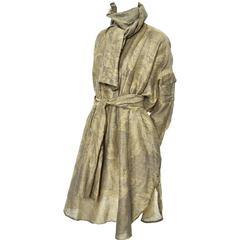 1980s Salvatore Ferragamo Vintage Linen Tunic Dress Statement Sleeves One Size