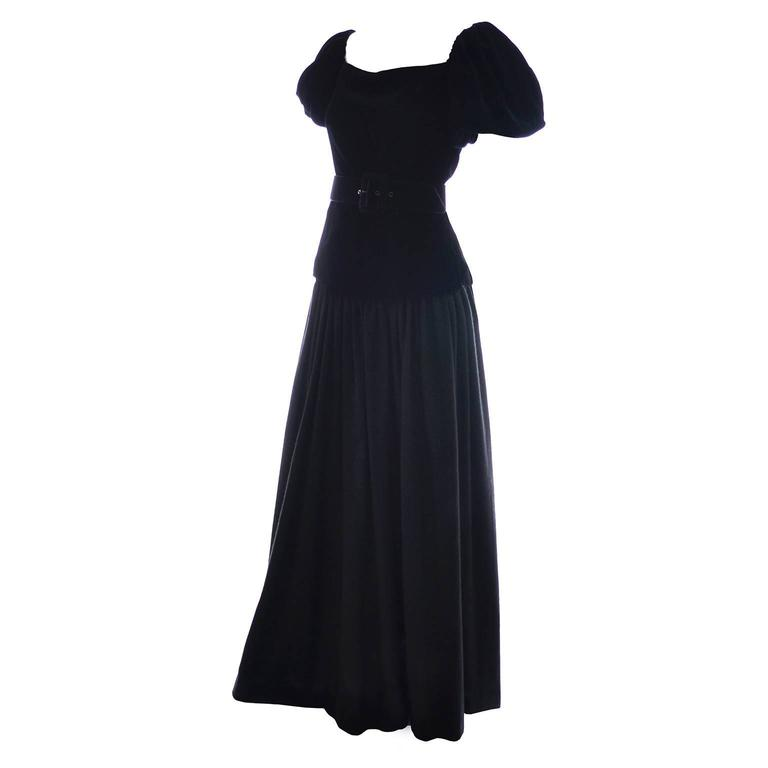 Yves Saint Laurent Vintage YSL Dress 2 pc Black Evening Gown 1970s Size 36  US 2 1