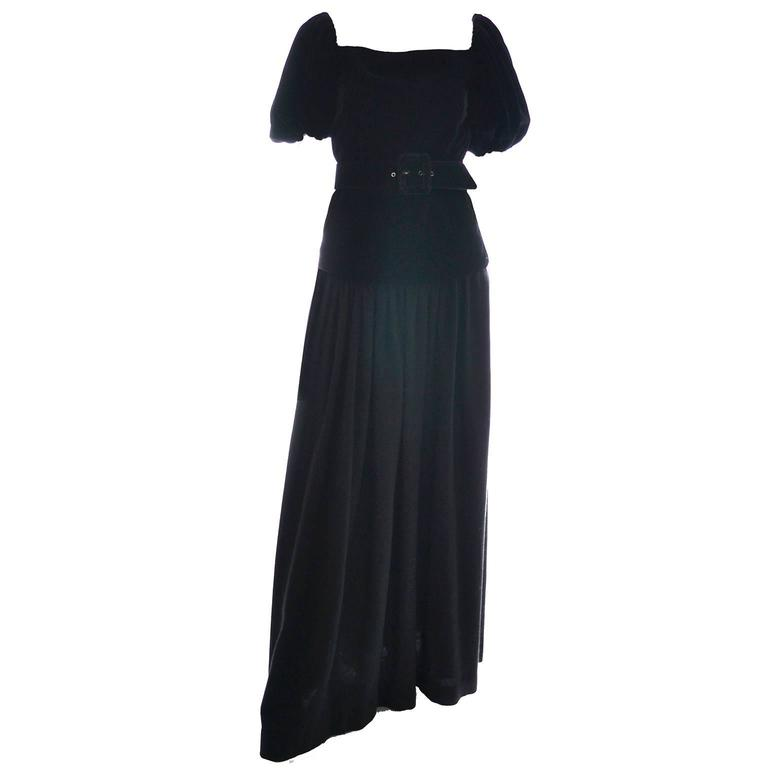 Yves Saint Laurent Vintage YSL Dress 2 pc Black Evening Gown 1970s Size 36  US 2 2