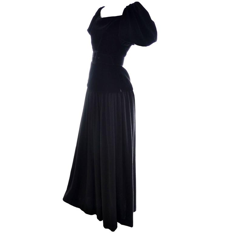Yves Saint Laurent Vintage YSL Dress 2 pc Black Evening Gown 1970s Size 36  US 2 5