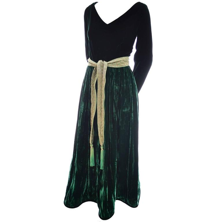 Black Oscar de la Renta Vintage Green Velvet Evening Gown Formal Dress For Sale