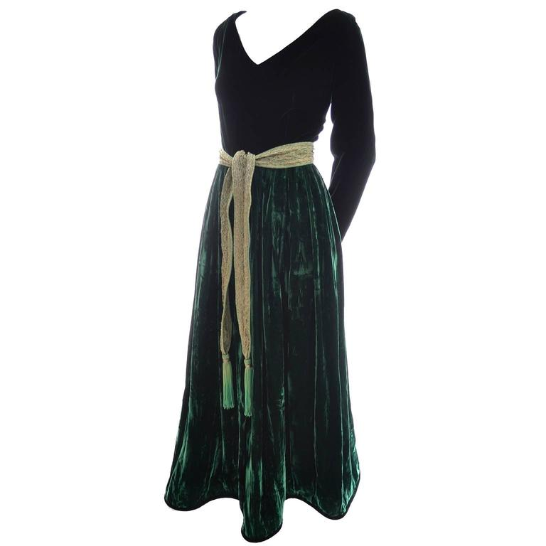 Oscar de la Renta Vintage Green Velvet Evening Gown Formal Dress 1