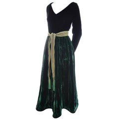 Oscar de la Renta Vintage Green Velvet Evening Gown Formal Dress