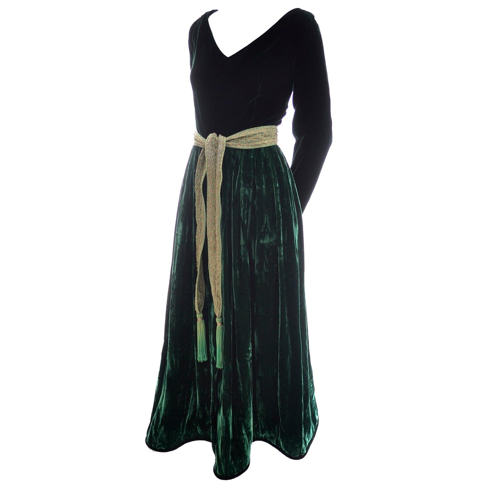Oscar de la Renta dark green velvet dress For Sale at 1stdibs