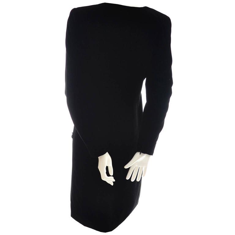Black Velvet Yves Saint Laurent Vintage Dress Beading YSL Size 36  For Sale 1
