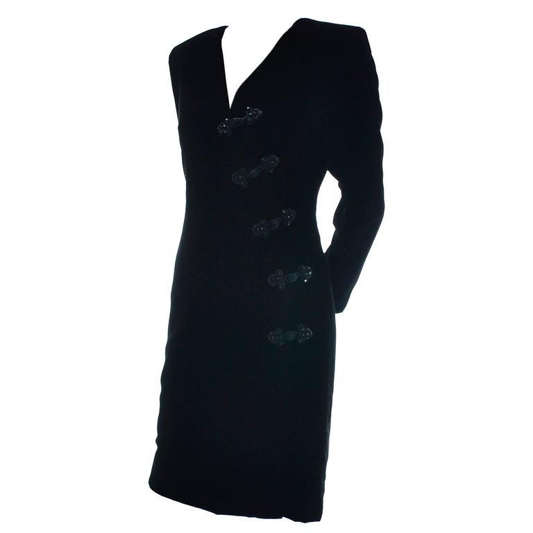 Women's Black Velvet Yves Saint Laurent Vintage Dress Beading YSL Size 36  For Sale