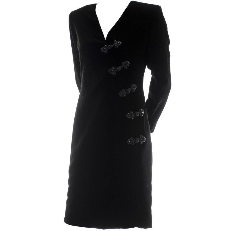 Black Velvet Yves Saint Laurent Vintage Dress Beading YSL Size 36  For Sale