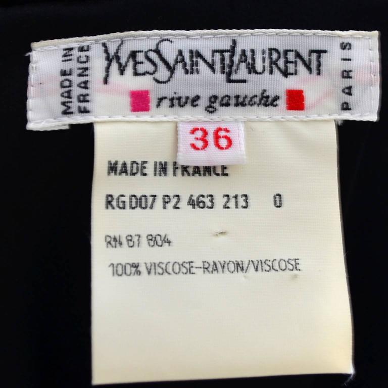 Black Velvet Yves Saint Laurent Vintage Dress Beading YSL Size 36  For Sale 2