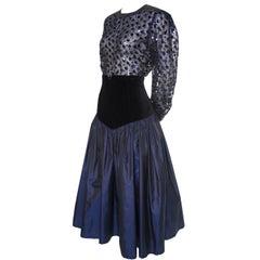 1980s Escada Vintage Blue & Black Velvet Satin 2 pc Evening Dress w Sheer Blouse