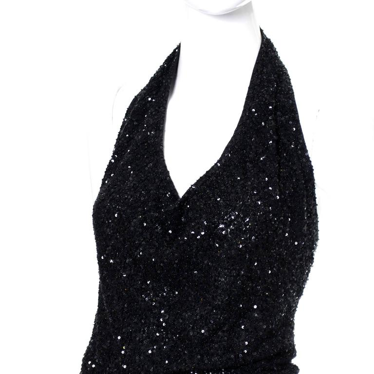 1990s Vintage Donna Karan 2pc Cashmere Silk Evening Dress With Cardigan Sequins 6