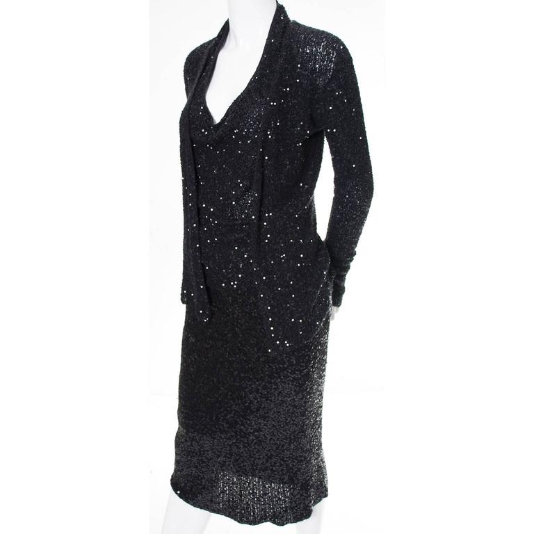 1990s Vintage Donna Karan 2pc Cashmere Silk Evening Dress With Cardigan Sequins 4